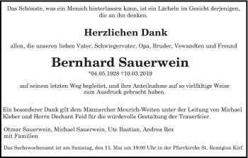 Traueranzeige für Bernhard Sauerwein vom 04.05.2019 aus trierischer_volksfreund