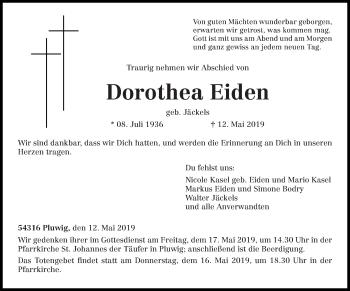 Traueranzeige für Dorothea Eiden vom 15.05.2019 aus trierischer_volksfreund