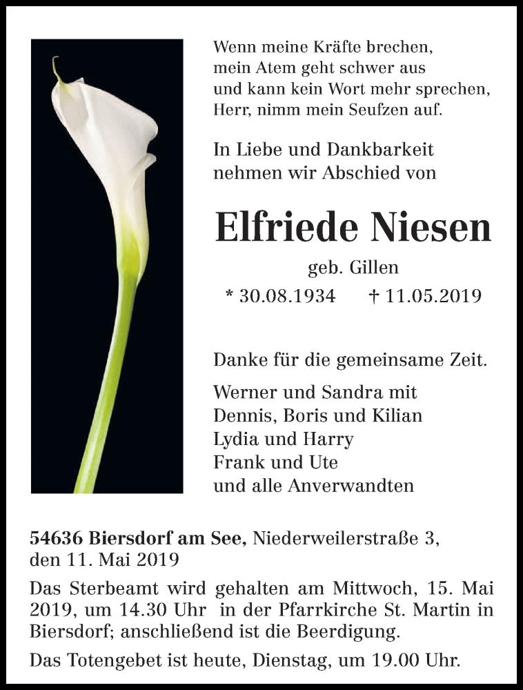 Traueranzeige für Elfriede Niesen vom 14.05.2019 aus trierischer_volksfreund