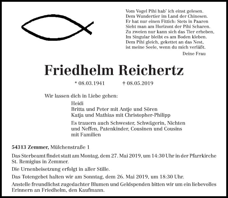 Traueranzeige für Friedhelm Reichertz vom 15.05.2019 aus trierischer_volksfreund