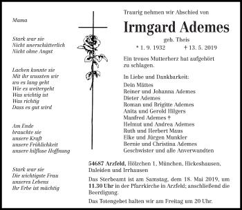 Traueranzeige für Irmgard Ademes vom 15.05.2019 aus trierischer_volksfreund