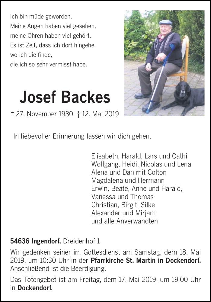 Traueranzeige für Josef Backes vom 15.05.2019 aus trierischer_volksfreund