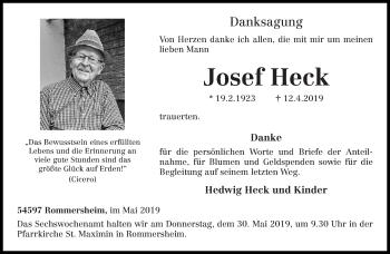 Traueranzeige für Josef Heck vom 25.05.2019 aus trierischer_volksfreund