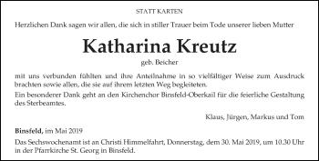 Traueranzeige für Katharina Kreutz vom 25.05.2019 aus trierischer_volksfreund