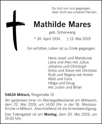 Traueranzeige für Mathilde Mares vom 15.05.2019 aus trierischer_volksfreund