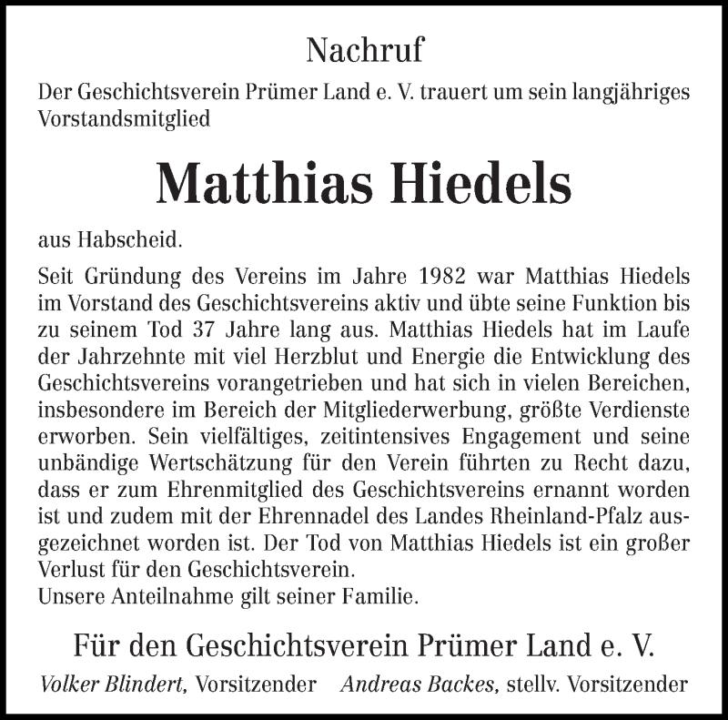 Traueranzeige für Matthias Hiedels vom 15.05.2019 aus trierischer_volksfreund