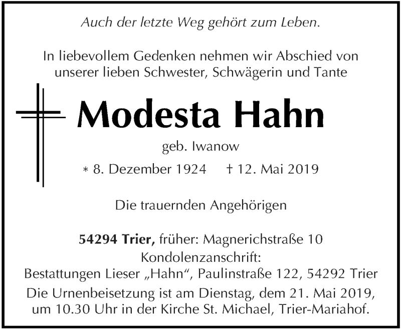 Traueranzeige für Modesta Hahn vom 15.05.2019 aus trierischer_volksfreund