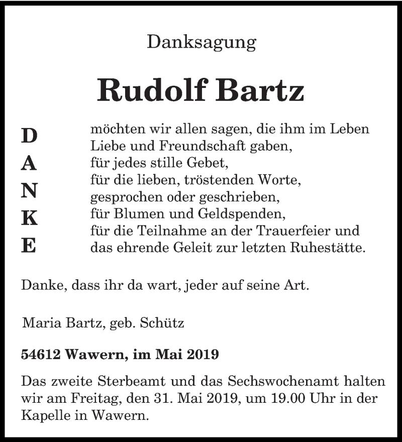 Traueranzeige für Rudolf Bartz vom 11.05.2019 aus trierischer_volksfreund