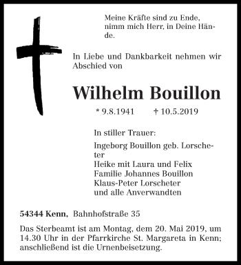Traueranzeige für Wilhelm Bouillon vom 15.05.2019 aus trierischer_volksfreund