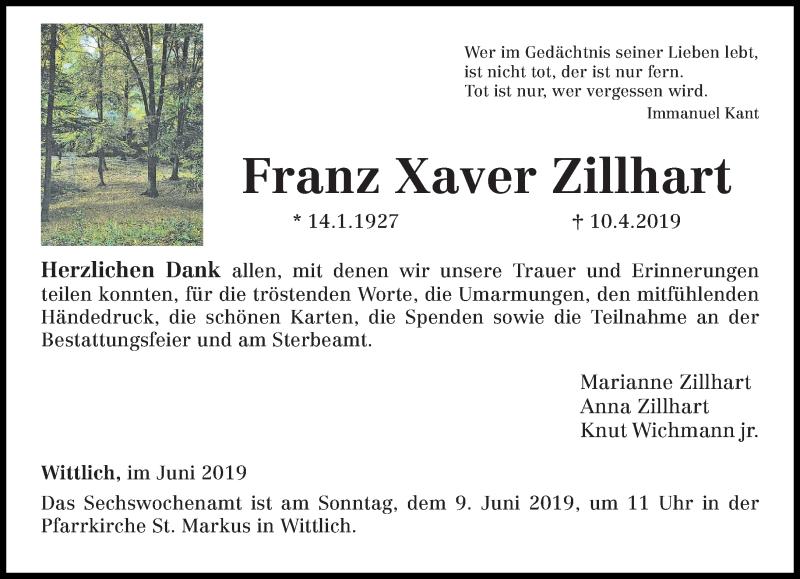 Traueranzeige für Franz Xaver Zillhart vom 01.06.2019 aus trierischer_volksfreund