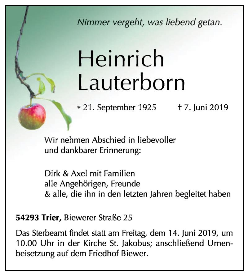 Traueranzeige für Heinrich Lauterborn vom 12.06.2019 aus trierischer_volksfreund
