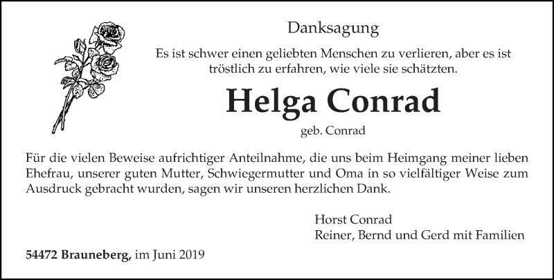 Traueranzeige für Helga Conrad vom 01.06.2019 aus trierischer_volksfreund
