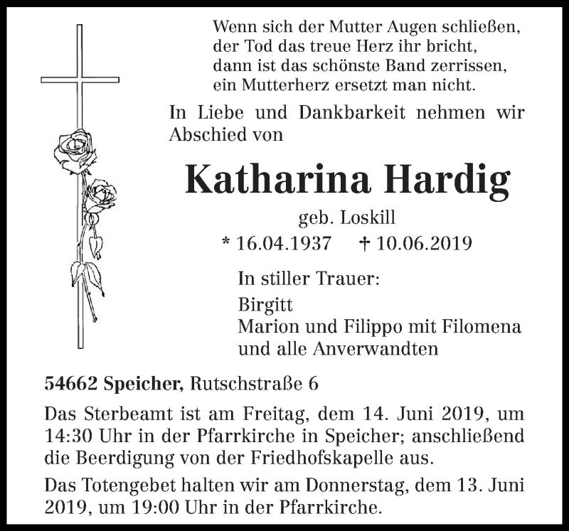 Traueranzeige für Katharina Hardig vom 12.06.2019 aus trierischer_volksfreund