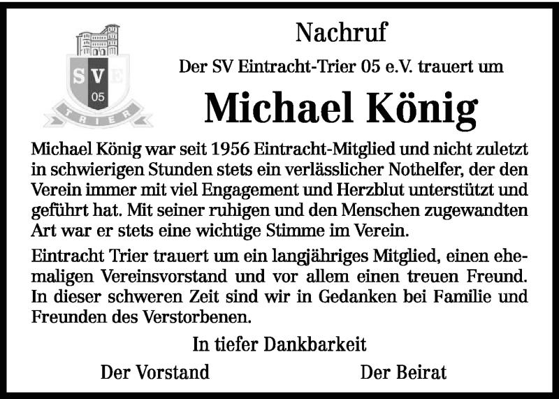 Traueranzeige für Michael König vom 13.06.2019 aus trierischer_volksfreund