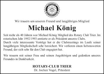 Traueranzeige für Michael König vom 08.06.2019 aus trierischer_volksfreund