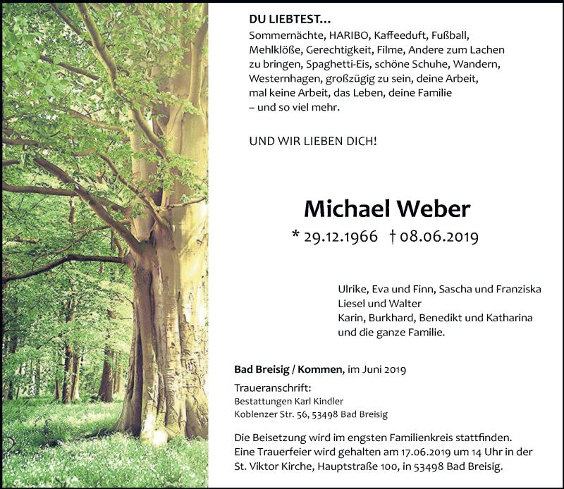 Traueranzeige für Michael Weber vom 12.06.2019 aus trierischer_volksfreund