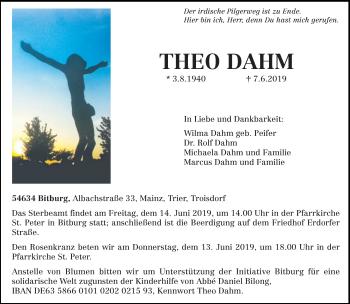 Traueranzeige für Theo Dahm vom 12.06.2019 aus trierischer_volksfreund