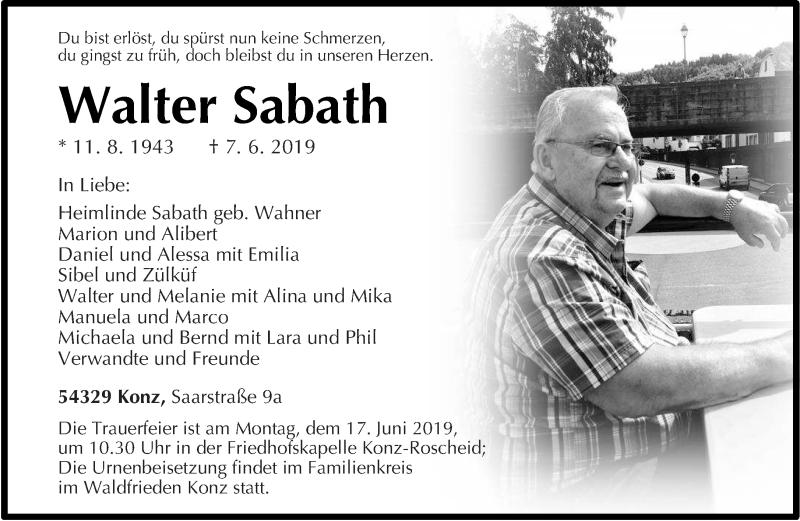 Traueranzeige für Walter Sabath vom 12.06.2019 aus trierischer_volksfreund