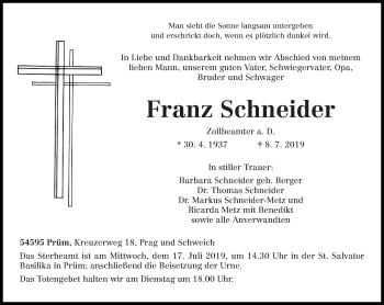 Traueranzeige für Franz Schneider vom 11.07.2019 aus trierischer_volksfreund