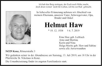 Traueranzeige für Helmut Haw vom 11.07.2019 aus trierischer_volksfreund