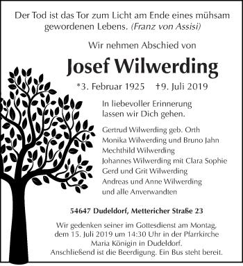 Traueranzeige für Josef Wilwerding vom 11.07.2019 aus trierischer_volksfreund