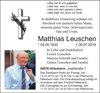 Traueranzeige für Matthias Leuschen vom 11.07.2019 aus trierischer_volksfreund
