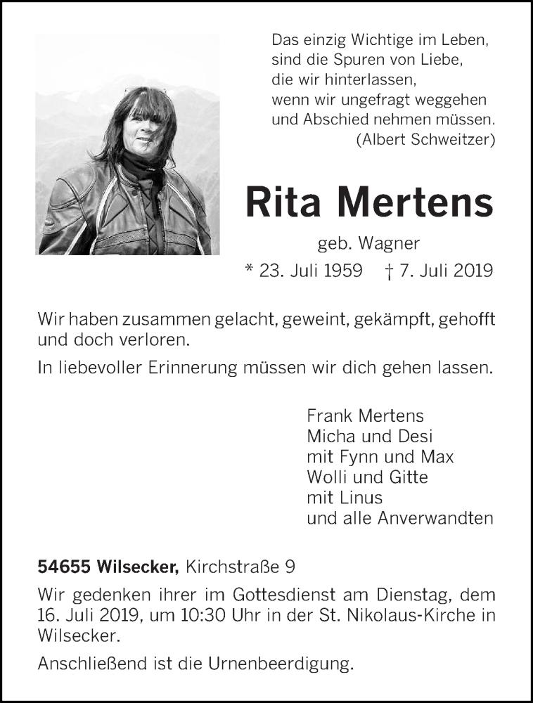 Traueranzeige für Rita Mertens vom 10.07.2019 aus trierischer_volksfreund
