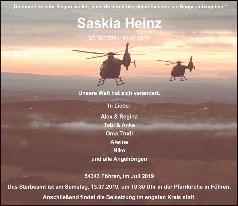 Traueranzeige für Saskia Heinz vom 10.07.2019 aus trierischer_volksfreund