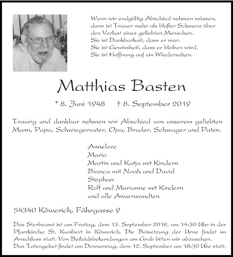 Traueranzeige für Matthias Basten vom 11.09.2019 aus trierischer_volksfreund