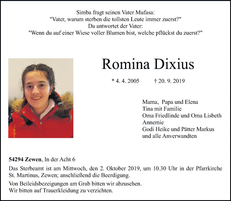 Traueranzeige für Romina Dixius vom 28.09.2019 aus trierischer_volksfreund