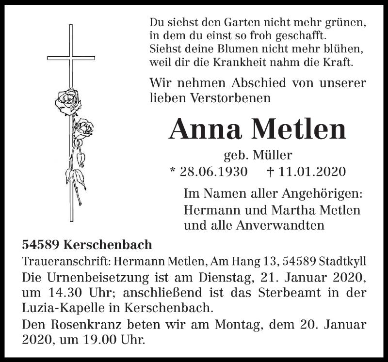 Traueranzeige für Anna Metlen vom 14.01.2020 aus trierischer_volksfreund