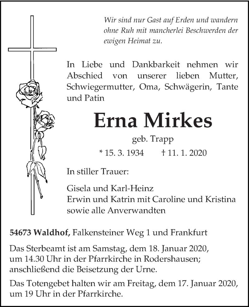 Traueranzeige für Erna Mirkes vom 14.01.2020 aus trierischer_volksfreund