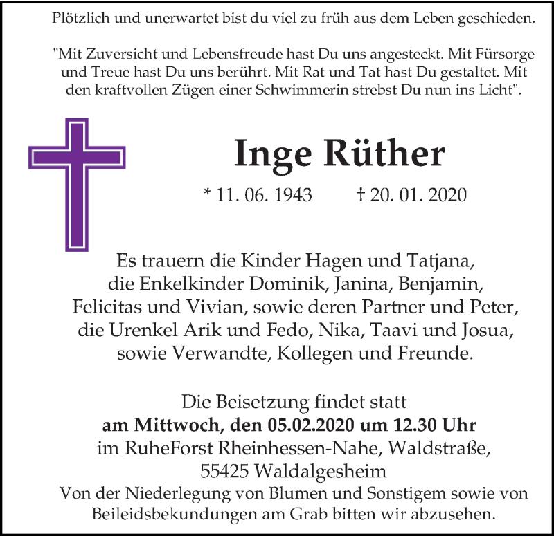 Traueranzeige für Inge Rüther vom 29.01.2020 aus trierischer_volksfreund