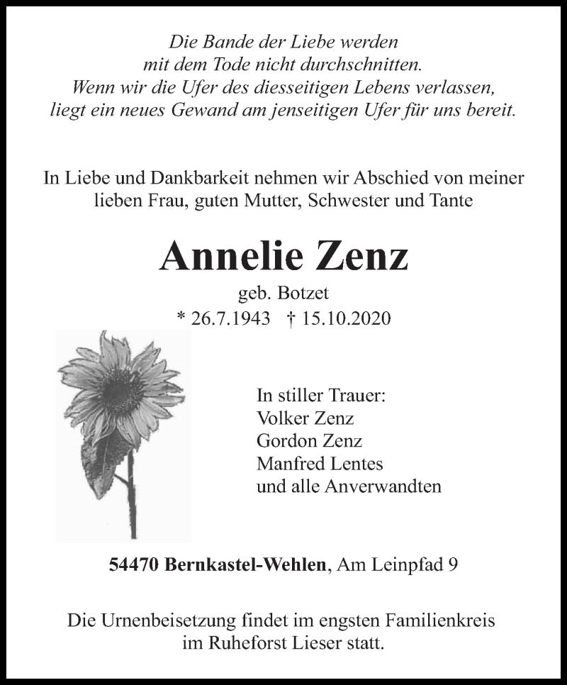 Traueranzeige für Annelie Zenz vom 17.10.2020 aus trierischer_volksfreund