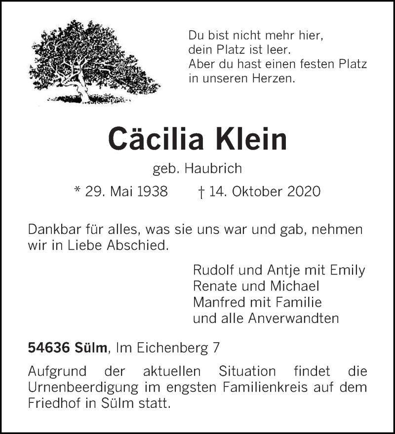 Traueranzeige für Cäcilia Klein vom 17.10.2020 aus trierischer_volksfreund