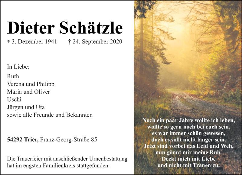Traueranzeige für Dieter Schätzle vom 02.10.2020 aus trierischer_volksfreund