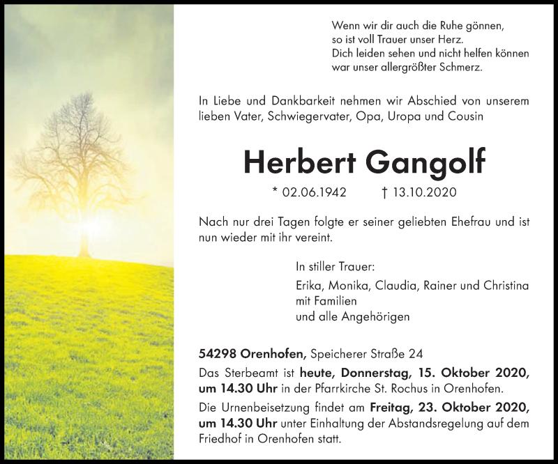 Traueranzeige für Herbert Gangolf vom 15.10.2020 aus trierischer_volksfreund