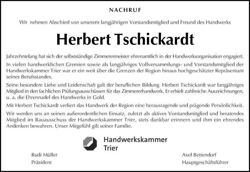 Traueranzeige für Herbert Tschickardt vom 02.10.2020 aus trierischer_volksfreund