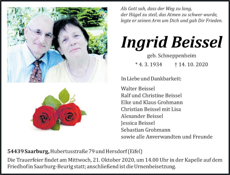 Traueranzeige für Ingrid Beissel vom 17.10.2020 aus trierischer_volksfreund