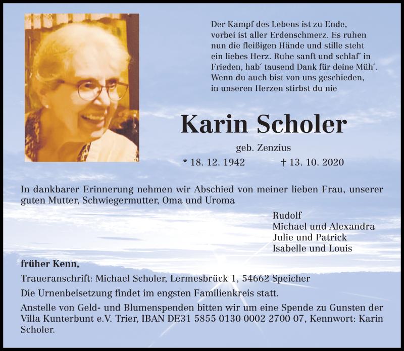 Traueranzeige für Karin Scholer vom 17.10.2020 aus trierischer_volksfreund