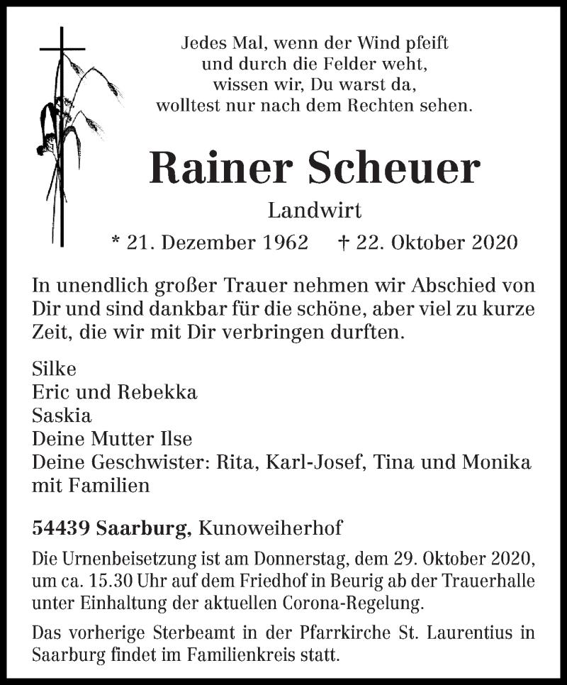 Traueranzeige für Rainer Scheuer vom 26.10.2020 aus trierischer_volksfreund