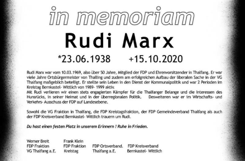 Traueranzeige für Rudi Marx vom 19.10.2020 aus trierischer_volksfreund
