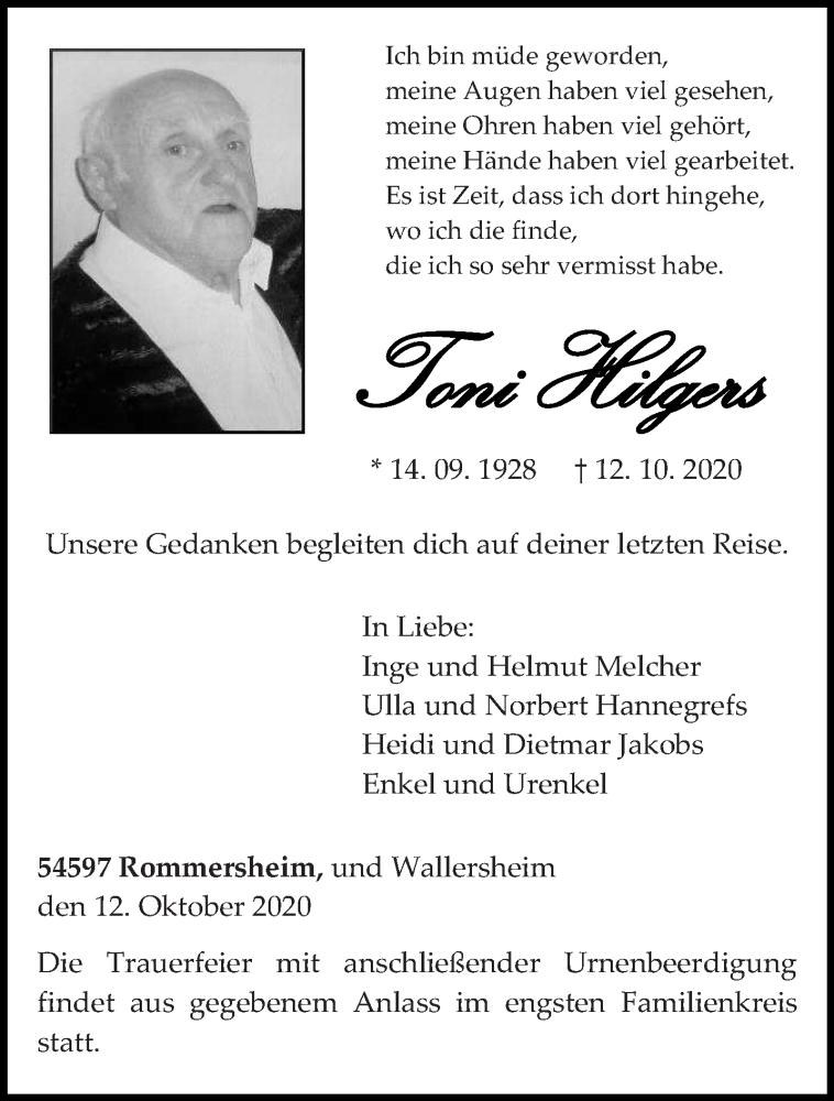 Traueranzeige für Toni Hilgers vom 17.10.2020 aus trierischer_volksfreund