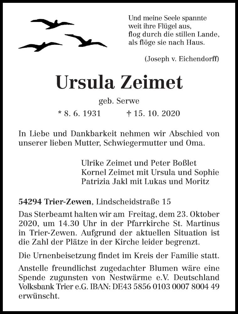 Traueranzeige für Ursula Zeimet vom 17.10.2020 aus trierischer_volksfreund