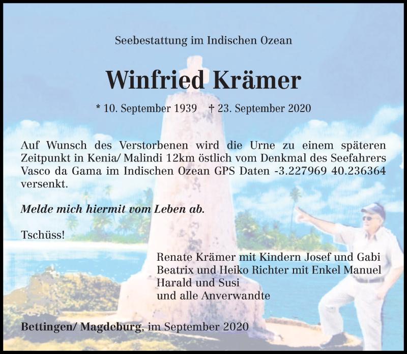 Traueranzeige für Winfried Krämer vom 10.10.2020 aus trierischer_volksfreund