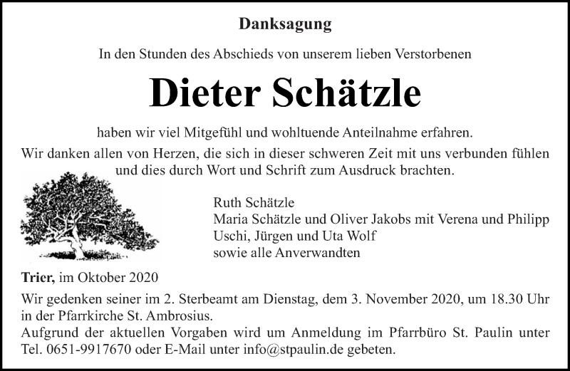Traueranzeige für Dieter Schätzle vom 31.10.2020 aus trierischer_volksfreund