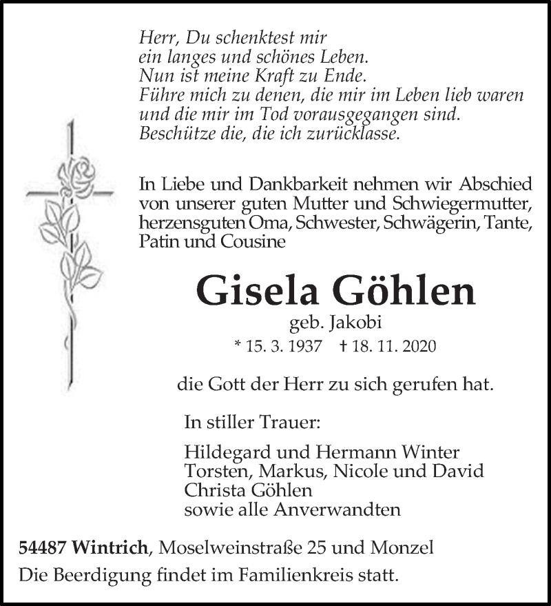 Traueranzeige für Gisela Göhlen vom 21.11.2020 aus trierischer_volksfreund