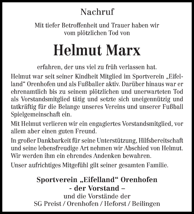 Traueranzeige für Helmut Marx vom 21.11.2020 aus trierischer_volksfreund