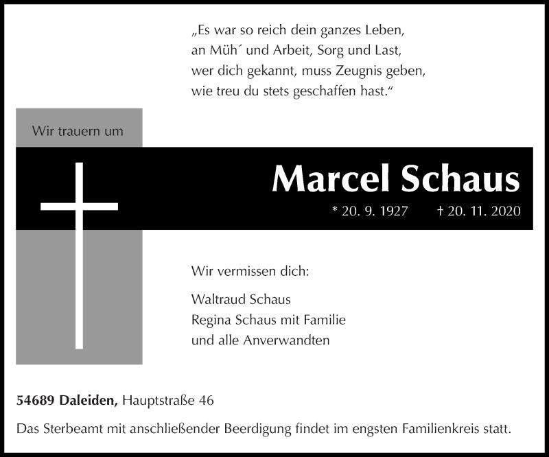 Traueranzeige für Marcel Schaus vom 23.11.2020 aus trierischer_volksfreund