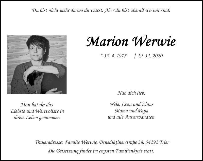 Traueranzeige für Marion Werwie vom 25.11.2020 aus trierischer_volksfreund